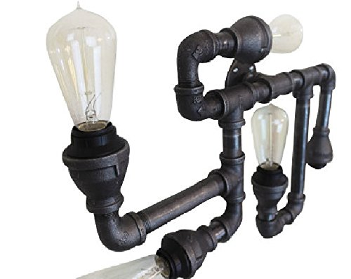 Flush Mount Black Pipe Industrial Lighting - Ceiling light, Steampunk Chandelier shown with Vintage Edison Bulbs - Unique industrial farmhouse pipe light fixture