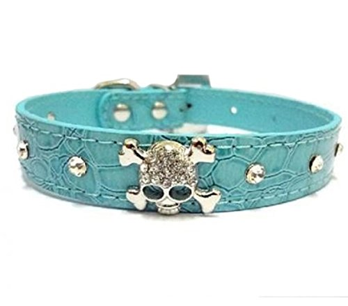 (1 Set Crystal Skulls Rhinestone Dog Collar Small Pet Puppy Animal PU Leather Soft Elastic Bow Bell Tag First-class Popular Large Wide Reflective Safety Breakaway Training Camo Kitten Collars, Type-02)