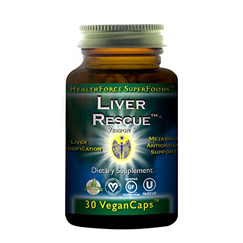 HealthForce SuperFoods Liver Rescue - 30 Vegan Capsules - All Natural Liver Detoxifier & Regenerator Supplement with Milk Thistle & Dandelion Root - Organic, Gluten Free - 15 Servings
