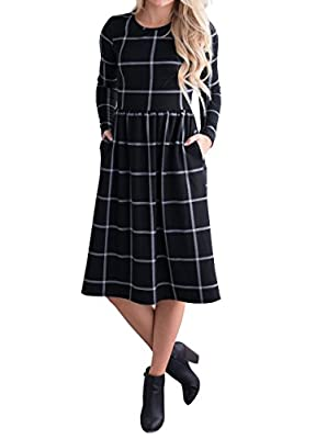 Ivay Women's Casual Grid Long Sleeve Empire Waist Tunic Dresses with Pockets