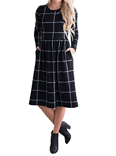 Summer Grid (Ivay Women's Grid Tunic Long Sleeve Empire Waist Knee Length Midi Dresses with Pockets)