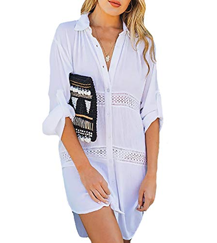 Bestyou Women's Button Down Pocket Shirts Sheer Crinkle Chiffon Kimono Cover Up Solid Open Front Cardigans (White)