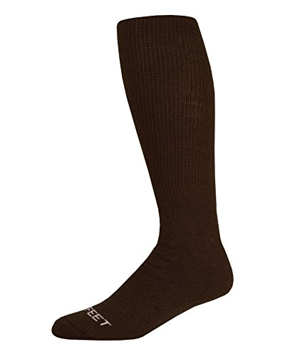 Pro Feet Multi-Sport Cushioned Acrylic Tube Socks, Brown, Large/Size 10-13 ()