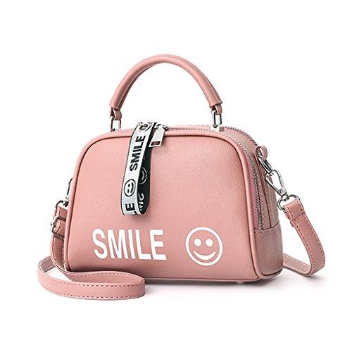 Bolso de la manera, consiga el bolso de cuero de la PU de las señoras, el bolso de mensajero más popular del hombro (los 20 * 11 * 14cm) (Color : Pink) Pink