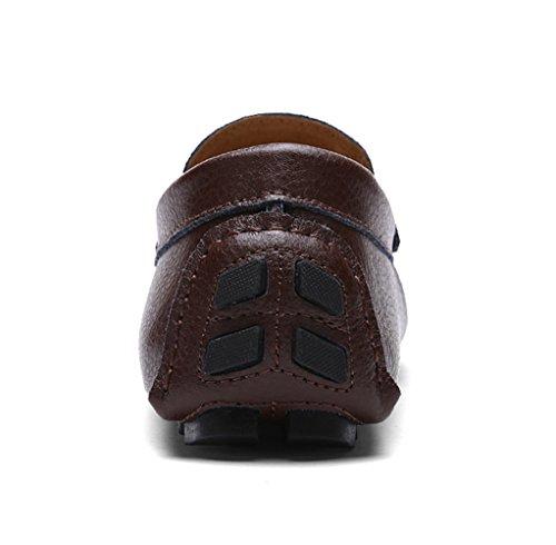 SK Studio Hombre Mocasines de Cuero Zapatos Del Barco Respirable Calzado Zapatos de Conducción Mocasine Marrón