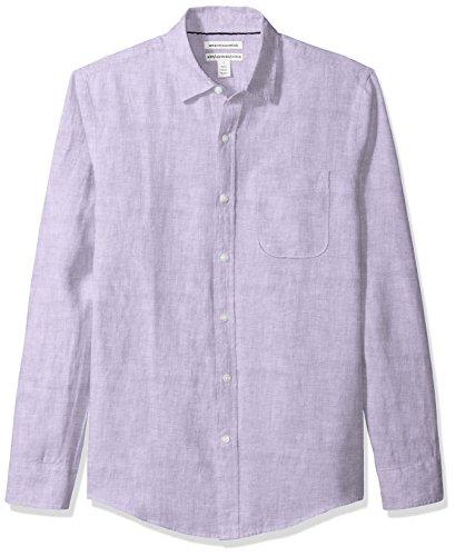 (Amazon Essentials Men's Slim-Fit Long-Sleeve Linen Shirt, Lavender, Small)