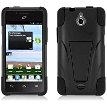 LF Black Black Hybrid Dual Layer case with Stand, Lf Stylus Pen and Wiper For TracFone, StraightTalk, Net 10 Huawei Ascend Plus H881C
