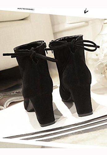 Stivali Da Donna Eleter Tacco Alto Punta Rotonda Stivaletto Da Cowboy Alla Caviglia Perfetto Per Casual Giorno O Notte Indossare Nero