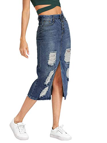 Verdusa Women's Split Front Ripped Faded Sheath Bodycon Denim Skirt 3-Blue L