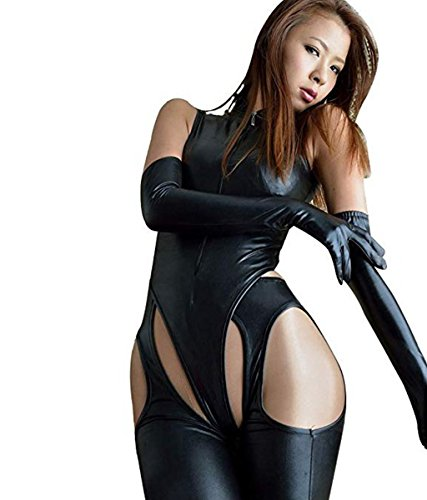 YiZYiF Sexy Catwoman Faux Leather Jumpsuit 4 Pieces Set Black Romper Dance Suit