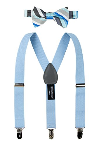Spring Notion Boys' Woven Bow Tie and Suspender Set Light Blue L
