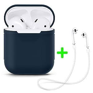 Silicona Airpods caso + Airpods correa, Bullspring Airpods Case Protective AirPods Funda Protectora de Silicona y Piel para Apple Airpods Funda de Carga (azul)