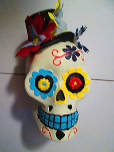Day of the dead sugar skull hand painted Poly Resin 4