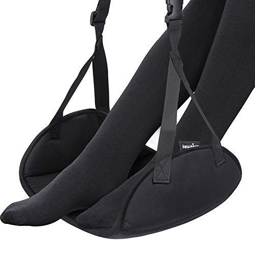 Airplane Footrest - Large Size Foot Hammock with Premium Memory Foam Reduce Swelling and Pain - The Best Airplane Travel Accessories - Breathable Travel Foot Rest Make Your Long Trip More Comfortable