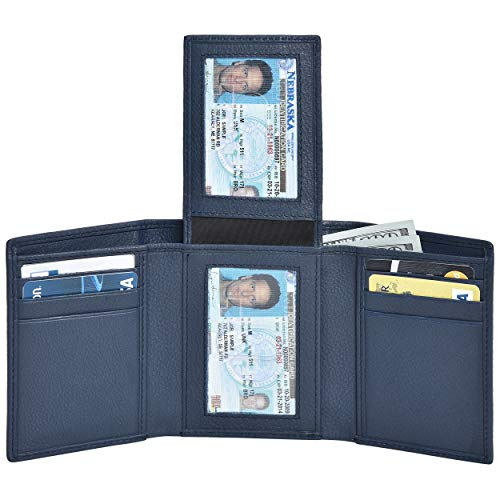 RFID Leather Trifold Wallets for Men - Handmade Slim Mens Wallet Credit Card Holder with ID Window ()