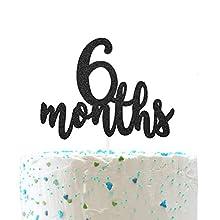 6 Months Cake Topper, Half 1/2 Birthday Cake Decorations,Half Birthday Party Decorations( Double Sided Black Glitter )
