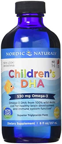 Nordic Naturals Children's DHA Liquid - Omega-3 DHA Fish Oil Supplement for Kids, Supports Heart Health and Brain Development for Children During Critical Years, Strawberry, 8 oz.