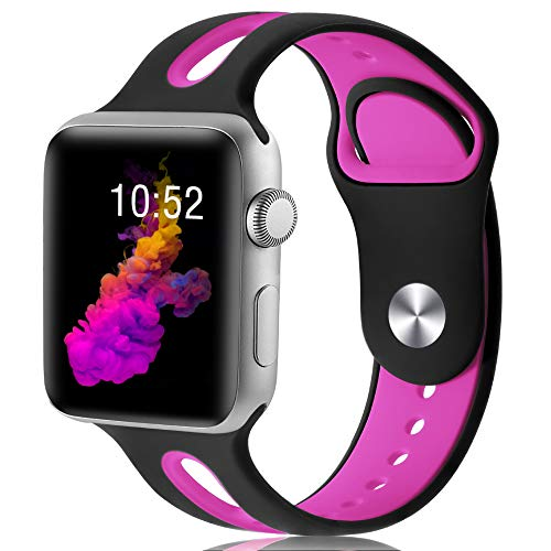 KOLEK Bands Compatible with Apple Watch for Women/Men, Bands Compatible with iWatch 42mm/44mm, S/M, Black/Hot Pink