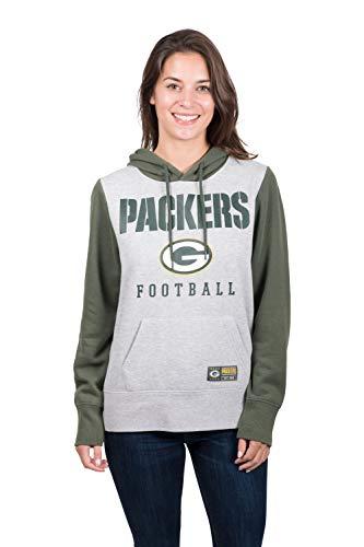 - ICER Brands NFL Green Bay Packers Women's Fleece Hoodie Pullover Sweatshirt Running Back, Large, Green
