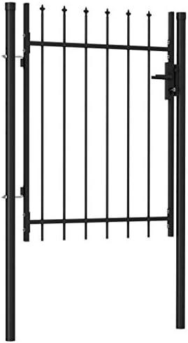 Festnight Puerta de Jardín Puerta de Cerca Cancela de Valla con una Puerta y Arcos Acero Negro 100 x 170 cm para Jardín, Patio o Terraza: Amazon.es: Hogar