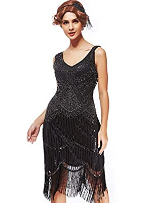 Women's Roaring 20s V-Neck Gatsby Dresses- Vintage Inpired Sequin beaded Flapper Dresses
