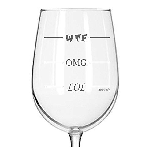 Fineware LOL-OMG-WTF Funny Wine Glass - Finally a Wine Glass for Every Mood! 16 oz Libbey Wine Glass
