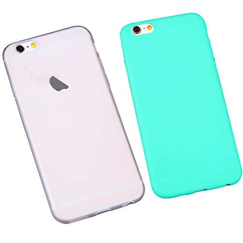iPhone 6S Case iEugen [Ultra-Thin] & [Soft touch] Slim Fit Shell TPU Full Protective AntiScratch Resistant Cover Case for iPhone 6 or iPhone 6S - clear+teal