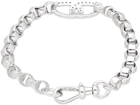 "Womens Bracelet | New!Sterling Silver 7.5""Patterned Belcher w/Simulated Diamond Horseshoe Bracelet | One of a Kind Jewellery"