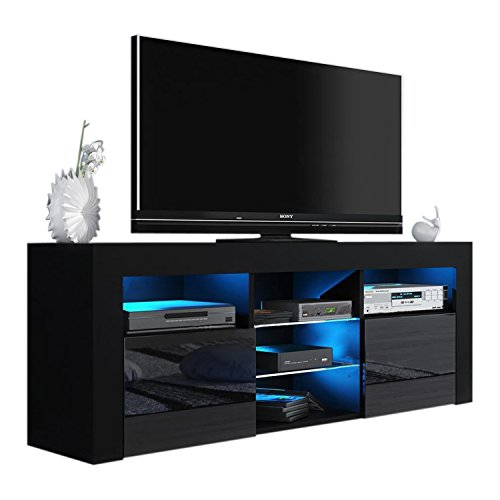 High Gloss Black Tv (Milano 145 Modern TV Stand Matte Body High Gloss Fronts (BLACK))