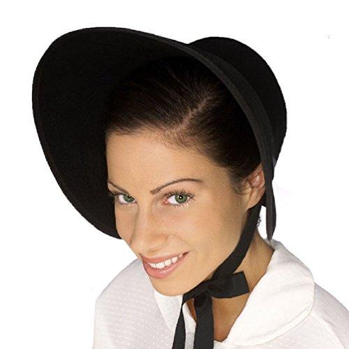 Black Felt Colonial Pilgrim Ladies Hat Amish Mennonite Quaker Costume Bonnet