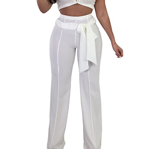 de con cintura alta corbata blanca Capri moichien Pallazo mujeres Pantalones Ai 2 gfpfw