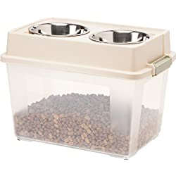 IRIS Large Elevated Feeder with Airtight Storage, Tan