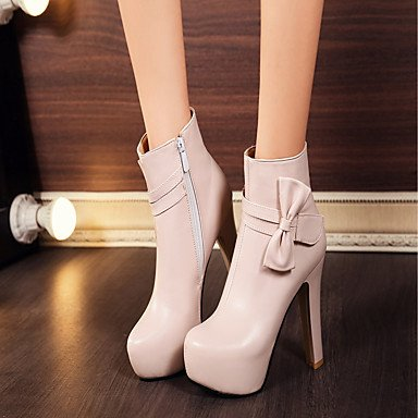 Women's Shoes PU Leatherette Fall Winter Comfort Novelty Fashion Boots Boots Chunky Heel Round Toe Booties/Ankle Boots Bowknot For Party Black pBmmWze4rx