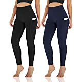 ODODOS Women's High Waisted Yoga Pants with Pocket, Workout Sports Running Athletic Pants with Pocket, Full-Length,BlackNavy2Pack,Small