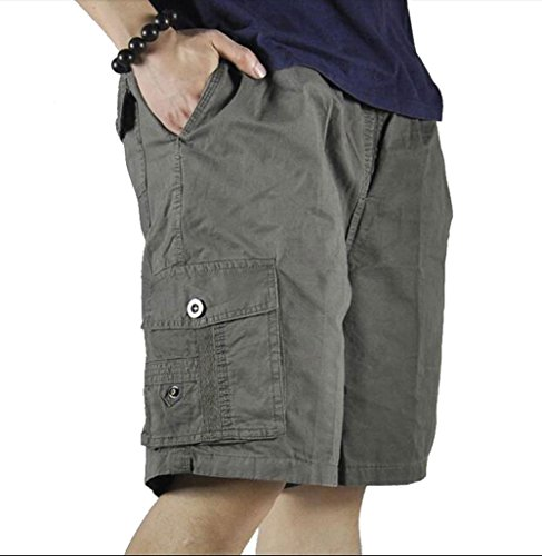 YangguTown YGT Men's Cargo Elastic Waist Shorts Cotton Baseline Sports Drawstring Pants by YangguTown