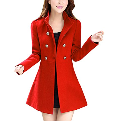 Rojo Mujeres Windbreaker Zhhlaixing Slim Abrigo Woolen Long Elegant Warm para Faux Cardigan Coats Invierno Jacket HqawqZRxp