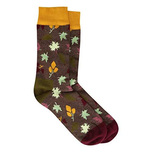 Meia 3/4 Happy Socks Cano Alto Fall Sock Feminina - Verde+Laranja - 34-38