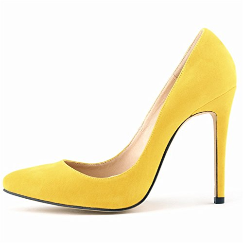 Shoesland Sandals L005 High Pointed Women Yellow Heels 's Shoes Pumps Toe rqUgZrPw