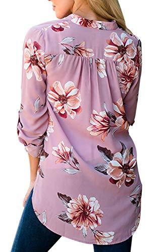 Tunique Manches Floral Mousseline Maxi Longues V Se Cou La en Rose Ufdqnw