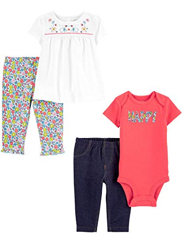 Simple Joys by Carter's Set di 4 Pezzi, Body e Pantaloni Bambina, Pacco da 4 2