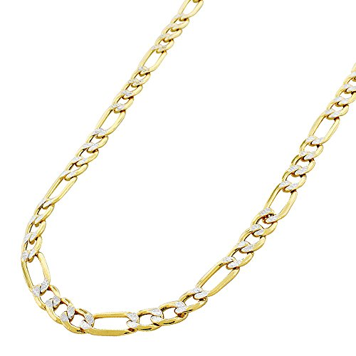 """10K Yellow Gold 6mm Hollow Figaro Link - Diamond Cut Two-Tone Pave - Light-Weight - Necklace Chain 20"""" - 30"""" (30)"""