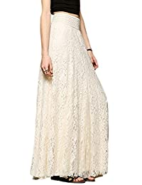 Jumojufol Women's Summer Elegant Simple High Waist Lace Maxi Evening Skirt