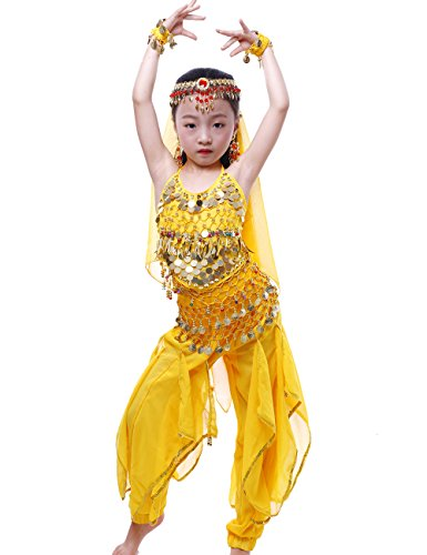(Astage Girls Oriental Belly Dance Sets Costumes All accessories Yellow M(Fits 5-7)