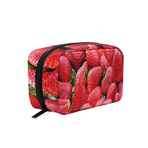 Makeup Bags Red Strawberry Fruits Cosmetic Bag Square Organizer Pouch Portable Pencil Storage Case for - Fruit Nyx