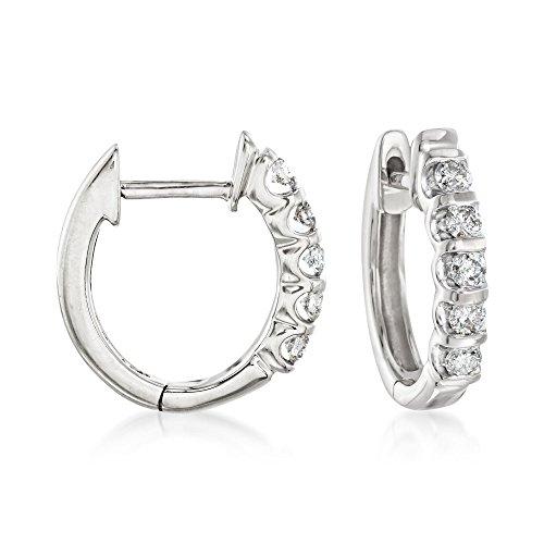 Ross-Simons 0.25 ct. t.w. Diamond Huggie Hoop Earrings in 14kt White Gold