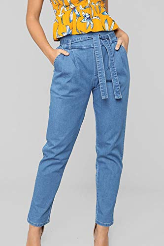 Blu Le Casual Pantaloni Pantaloni Carica Jean Sevozimda Paperbag Pinocchietti I Donne Denim Matita zdqAx7w