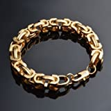 Sumanee Fashion Womens Vintage 18K Gold Silver Bangle Punk Cuff Bracelet Chain Jewelry