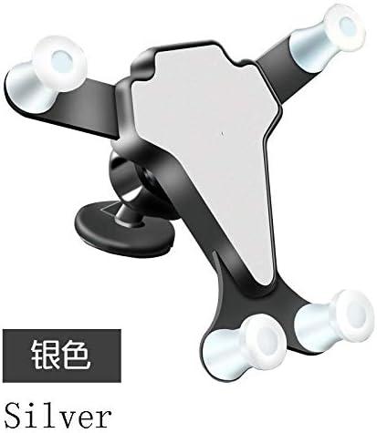 カーアクセサリーカー重力携帯電話ホルダーカーエアアウトレットナビゲーションカーギフトR-5901 (Color : Silver)