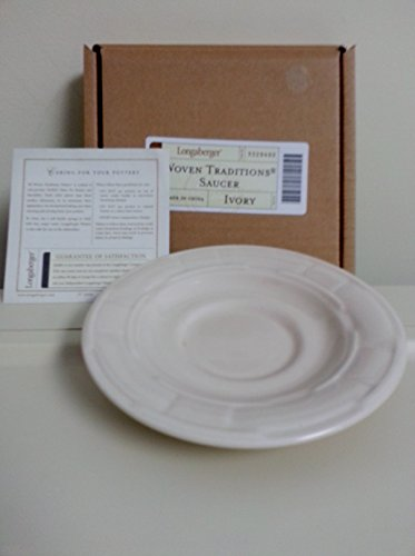 Snack Pottery - Longaberger Pottery Ivory Saucer Snack Plate Set of 4 New In Boxes
