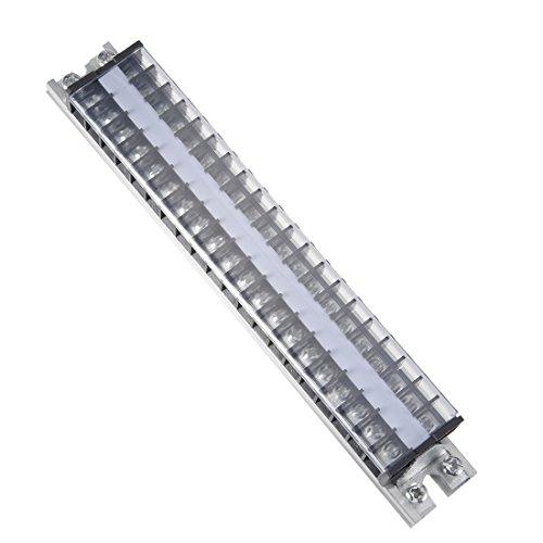 uxcell Barrier Terminal Strip Block 660V 15A Dual Rows 20P DIN Rail Base Screw Connector
